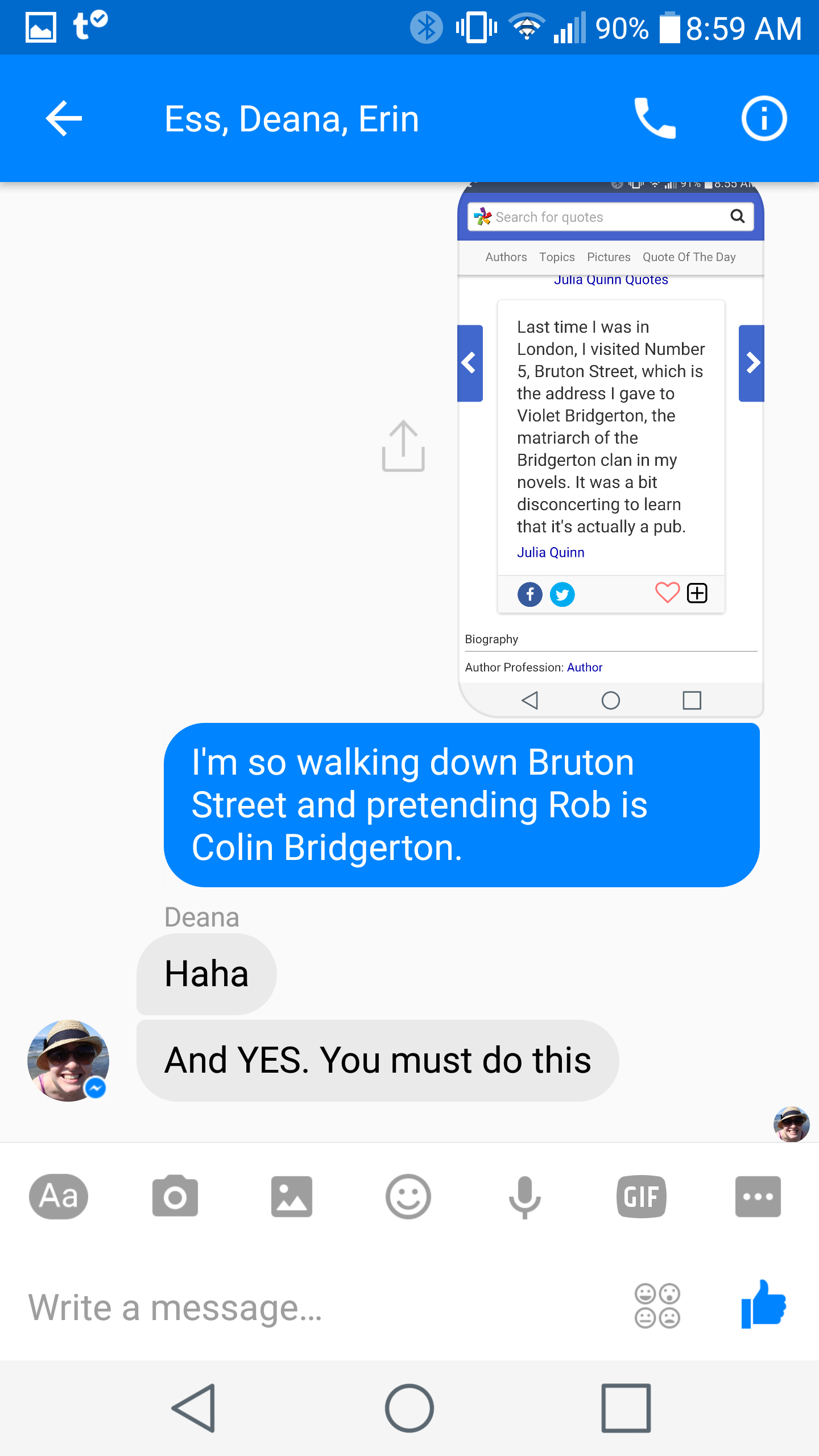 FB Chat Friday: A girl COULD go to London without
